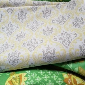 🌟HP🌟 Vintage Yellow Damask Upholstery Fabric 4y""